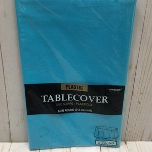 Amscan Set of 5 Blue 84 inch Round Tablecloth